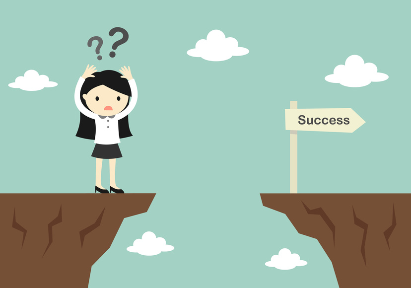 Business concept, business woman is confusing about how to across to another cliff. Vector illustration.